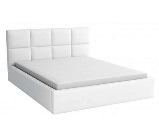 Łóżko tapicerowane sypialniane z pojemnikiem na pościel z materacem 180x200 białe