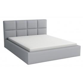Łóżko tapicerowane sypialniane z pojemnikiem na pościel z materacem 180x200 szare