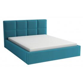 Łóżko tapicerowane sypialniane z pojemnikiem na pościel z materacem 180x200 turkusowe