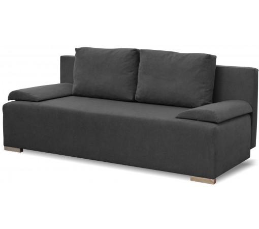 Plamoodporna sofa rozkładana z funkcją spania z poduszkami z pojemnikiem na pościel do salonu do pokoju do sypialni grafitowa