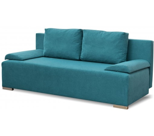 Plamoodporna sofa rozkładana z funkcją spania z poduszkami z pojemnikiem na pościel do salonu do pokoju do sypialni turkusowa