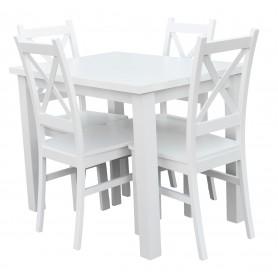 Stół nierozkładany biały 100x70 4 krzesła krzyżak biały do kuchni i jadalni