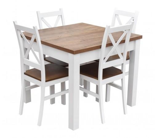 Stół rozkładany do kuchni do salonu do jadalni dąb lefkas 4 krzesła siedzisko nietapicerowane