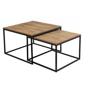 Zestaw kawowy stolik 2w1 Loft z metalowymi nogami