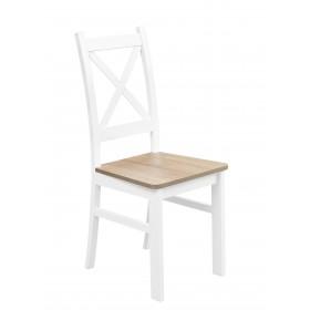Białe Krzesło Nietapicerowane Kolor Dąb Sonoma do kuchni i jadalni