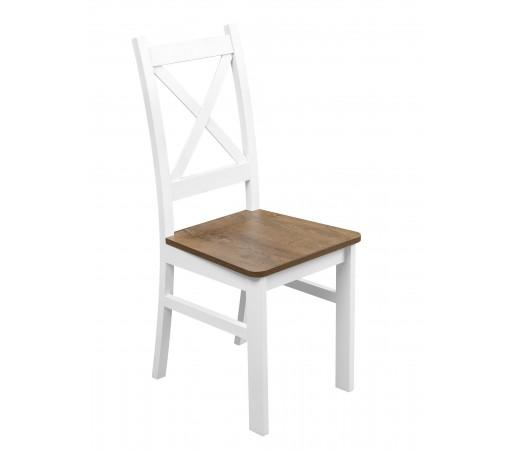 Białe Krzesło Nietapicerowane Kolor Dąb Lefkas do kuchni i jadalni