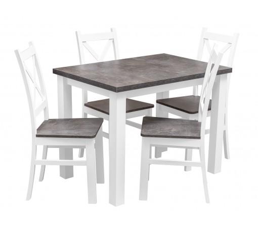Zestaw do kuchni i jadalni stół beton 4 krzesła beton krzyżak