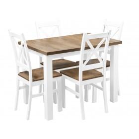 Zestaw Stół Krzesła Biały Dąb Lefkas do kuchni i jadalni