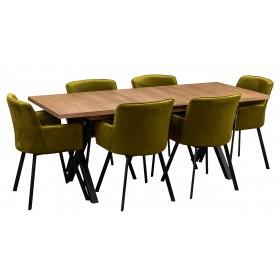 Zestaw loftowy industrialny z 6 krzesłami tapicerowanymi oliwkowe