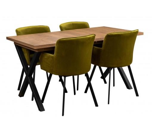 Zestaw loftowy industrialny z 4 krzesłami tapicerowanymi oliwkowe