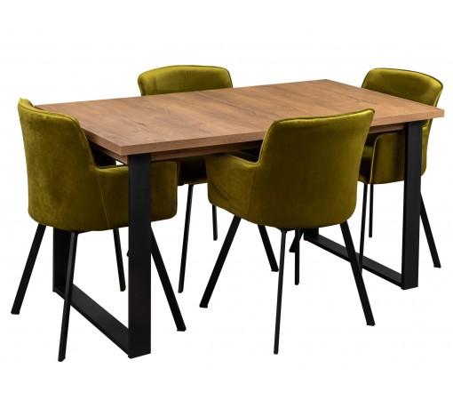 Zestaw loft industrialny z czterema krzesłami tapicerowanymi loft oliwkowe