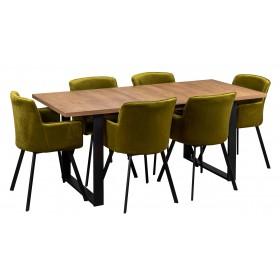Zestaw loft industrialny z sześcioma krzesłami tapicerowanymi loft oliwkowe