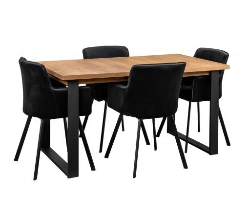 Zestaw loftowy stół z prostymi metalowymi nogami w stylu industrialnym z czterema krzesłami tapicerowanymi