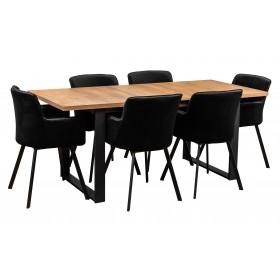 Zestaw loftowy stół z prostymi metalowymi nogami w stylu industrialnym z sześcioma krzesłami tapicerowanymi