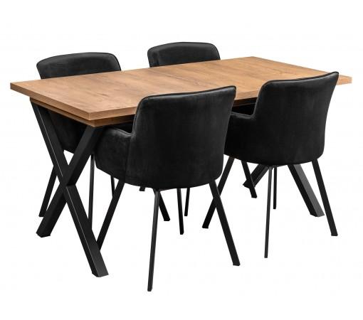 Zestaw z czarnymi krzesłami tapicerowanymi loft w stylu industrialnym stół rozkładany 4 krzesła