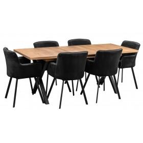 Zestaw z czarnymi krzesłami tapicerowanymi loft w stylu industrialnym