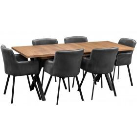 Zestaw loftowy w stylu industrialnym z sześcioma krzesłami tapicerowanymi
