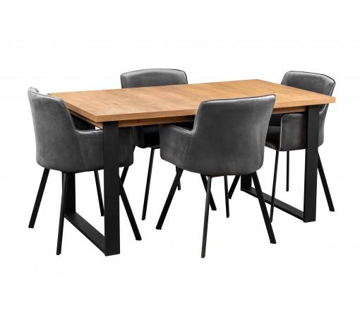 Zestaw industrialny loft stół z metalowymi prostymi nogami z 4 krzesłami tapicerowanymi