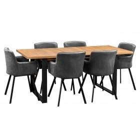 Stół loft industrialny z sześcioma krzesłami tapicerowanymi grafitowymi loft industrialne