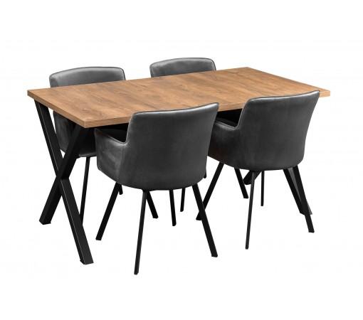 Stół industrialny loft z nogami X z czterema krzesłami tapicerowanymi
