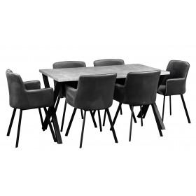 Stół loft w stylu industrialnym z nogami metalowymi z sześcioma krzesłami grafitowymi