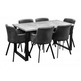Stół loft industrialny + 6 krzeseł tapicerowanych