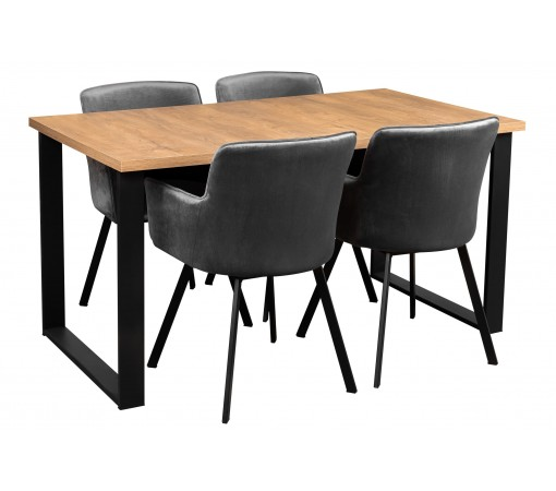 Stół rozkładany dąb lefkas z czterema krzesłami tapicerowanymi