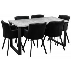Stół rozkładany loft w stylu industrialnym z sześcioma krzesłami tapicerowanymi