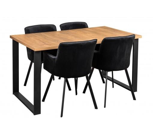 Stół industrialny loft z czterema krzesłami