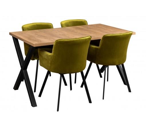 Stół rozkładany z metalowymi nogami w kształcie litery X z czteroma krzesłami oliwkowe do kuchni do salonu do jadalni