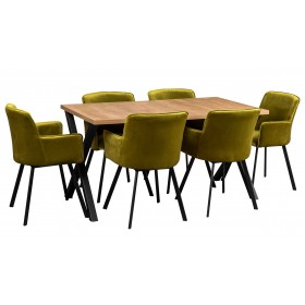 Stół rozkładany z metalowymi nogami w kształcie litery X z sześcioma krzesłami oliwkowe do kuchni do salonu do jadalni
