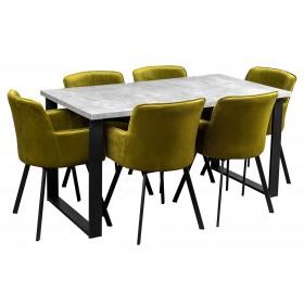 Stół industrialny loft z metalowymi nogami do kuchni i jadalni z 6 krzesłami tapicerowanymi