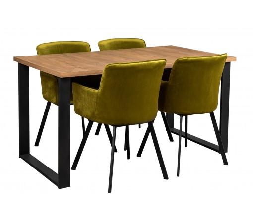 Stół industrialny loftowy dąb lefkas z czterema krzesłami oliwkowymi
