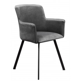 Krzesło loft w stylu industrialnym z metalowymi nogami tapicerowane grafit