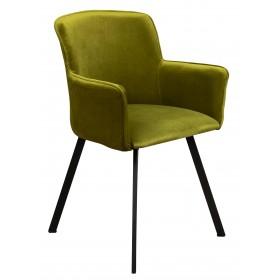 Krzesło loft w stylu industrialnym z metalowymi nogami tapicerowane oliwkowy