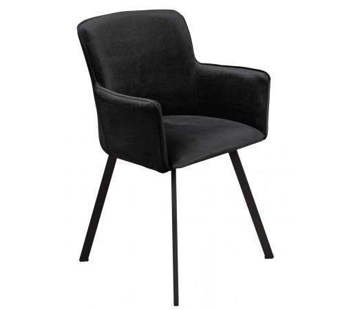 Krzesło loft w stylu industrialnym z metalowymi nogami tapicerowane czarny