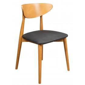 Krzesło skandynawskie tapicerowane dąb jasny siedzisko czarny przód