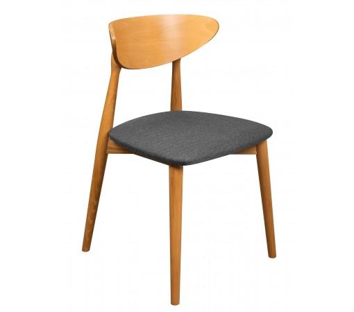Krzesło skandynawskie tapicerowane dąb jasny siedzisko grafit przód
