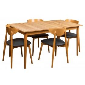 Stół rozkładany do kuchni jadalni w stylu skandynawskim z czterema krzesłami