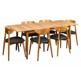 Stół rozkładany w stylu skandynawskim z sześcioma krzesłami tapicerowanymi