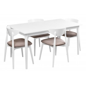 Biały stół skandynawski z czterema krzesłami tapicerowanymi
