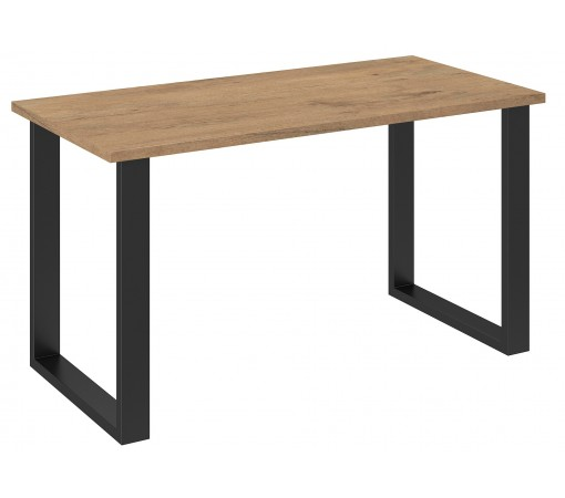 Stół biurko dąb lancelot z nogami metalowymi czarne loft w stylu industrialnym