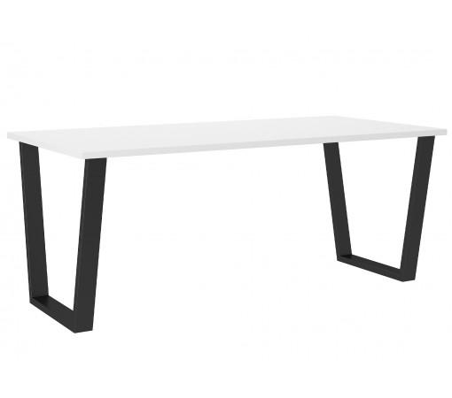 Duży biały Nowoczesny stół industrialny z czarnymi nogami metalowymi aranżacja