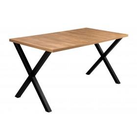 Prostokątny Stół Loft Dąb Lefkas z czarnymi metalowymi nogami industrialny