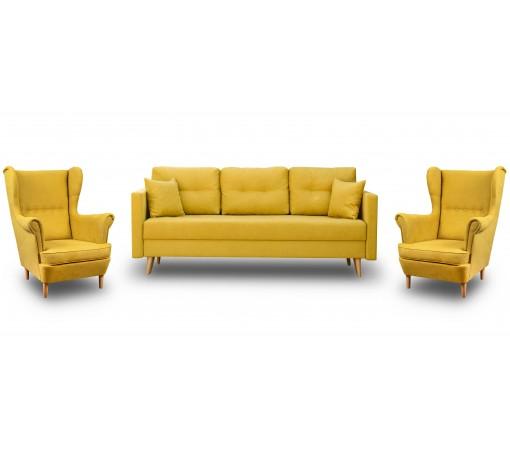 Zestaw Wypoczynkowy Sofa z Funkcją Spania + 2 Fotele Uszak