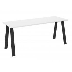 Stół loft w stylu industrialnym blat biały z czarnymi nogami prostymi industrialny