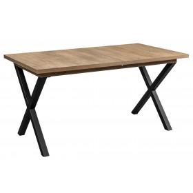 Stół loft rozkładany industrialny z metalowymi nogami w kształcie litery X dąb lefkas rozłożony