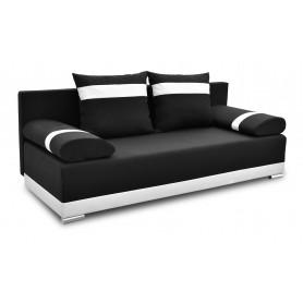 Nowoczesna sofa rozkładana z funkcją spania do salonu do pokoju do sypialni z poduszkami z funkcją spania Orlean Plus Czarna