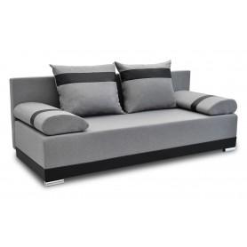 Nowoczesna sofa rozkładana z funkcją spania do salonu do pokoju do sypialni z poduszkami z funkcją spania Orlean Plus Szara
