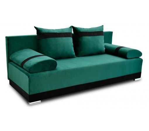 Nowoczesna sofa rozkładana z funkcją spania do salonu do pokoju do sypialni z poduszkami z funkcją spania Orlean Plus Zielona